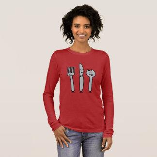 幸せな食事用器具類の道具フォークのナイフのSporkのかわいいスプーン 長袖Tシャツ