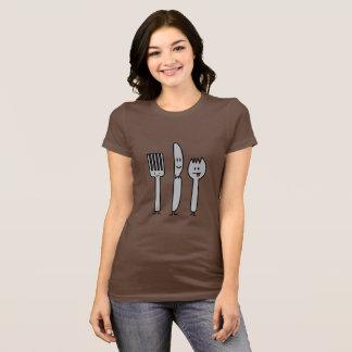 幸せな食事用器具類の道具フォークのナイフのSporkのかわいいスプーン Tシャツ