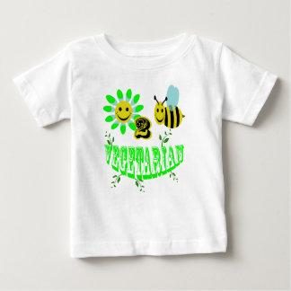 幸せな2匹の蜂のベジタリアン ベビーTシャツ