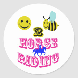 幸せな2匹の蜂の乗馬 ラウンドシール