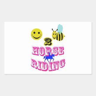 幸せな2匹の蜂の乗馬 長方形シール