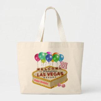 幸せな21の誕生日のラスベガスのケーキのトートバック ラージトートバッグ