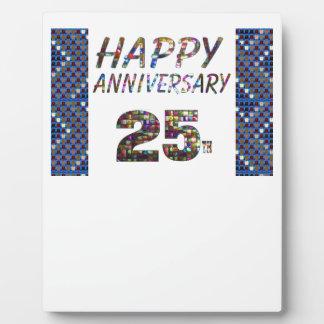 幸せな25個の第25記念日のギフト フォトプラーク