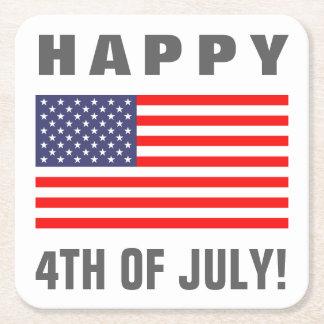 幸せな7月4日の米国旗の紙の飲み物のコースター スクエアペーパーコースター