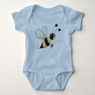 幸せな《昆虫》マルハナバチの蜂の絵の黒および黄色 ベビーボディスーツ