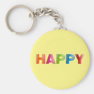 """""""幸せな"""" 2.25""""基本的なボタンKeychain キーホルダー"""