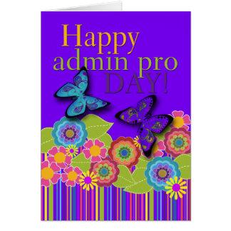 幸せなAdminのプロ日、蝶および花 カード