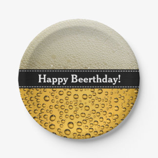 幸せなBeerthday! おもしろいな誕生日か文字 ペーパープレート