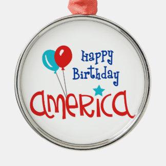 幸せなBirtdayアメリカ メタルオーナメント