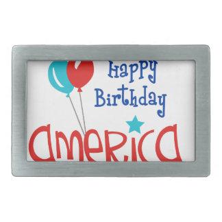 幸せなBirtdayアメリカ 長方形ベルトバックル
