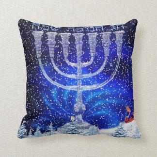 幸せなHannukahの雪の枕 クッション