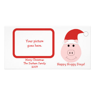 幸せなHoggyの日の写真のクリスマスカード カード