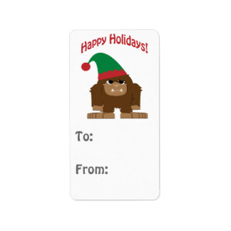 幸せなHokidays! クリスマスビッグフット ラベル