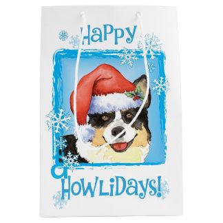 幸せなHowlidaysのカーディガンのウェルシュコーギー ミディアムペーパーバッグ