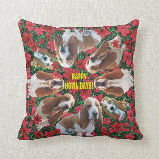 幸せなHowlidaysのバセットハウンドのクリスマスの枕 クッション