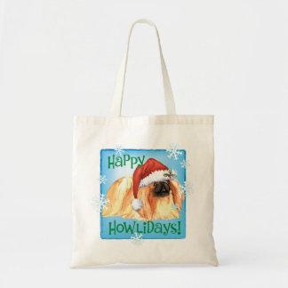 幸せなHowlidays Pekingese トートバッグ