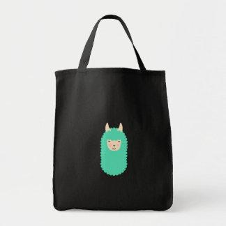 幸せなLllama Emojiの食料雑貨のトートバック トートバッグ