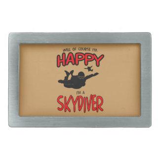 幸せなSkydiver (blk) 長方形ベルトバックル