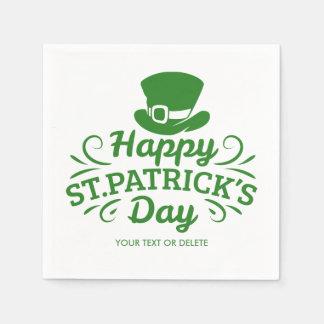 幸せなSt patricks dayの小妖精の帽子のカスタムの文字 スタンダードカクテルナプキン