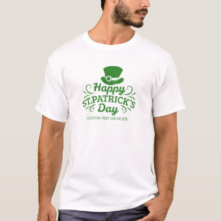 幸せなSt patricks dayの小妖精の帽子のカスタムの文字 Tシャツ