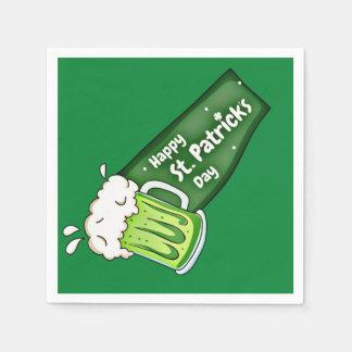 幸せなSt patricks day緑ビール旗 スタンダードカクテルナプキン