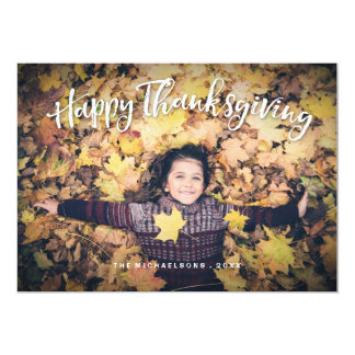 幸せなThankgivingの平らな写真カード カード