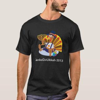 幸せなThanksgivukkah 2013のお祝いのおもしろいなTシャツ Tシャツ