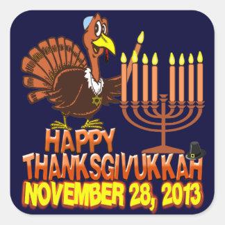 幸せなThanksgivukkah Thankgivingハヌカー2013年 スクエアシール