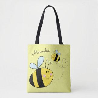 幸せ名前入りなハートを飛ばしている蜂をブンブンいう音 トートバッグ