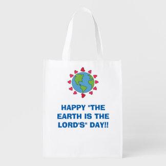 """""""幸せ地球主""""の日の再使用可能なトートです エコバッグ"""