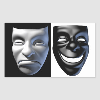 幸せ悲しいマスクのステッカー 長方形シール