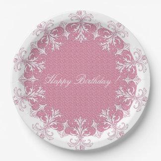幸せ誕生日フランス優雅スタイリッシュ神バラ 紙皿 大
