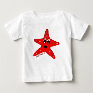 幸せ赤いヒトデ ベビーTシャツ