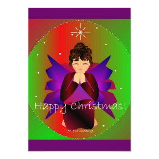幸せ|クリスマス|天使|赤ん坊|女の子|祈ること 12.7 X 17.8 インビテーションカード