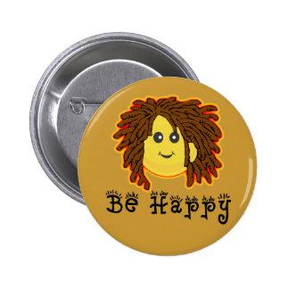 幸せ ラスタ 月曜日 スマイリー Dreadlocks 缶バッジピンバック