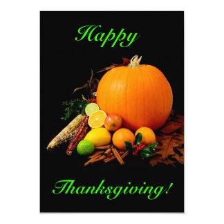 幸せ|感謝祭|カボチャ|フルーツ 12.7 X 17.8 インビテーションカード