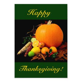 幸せ|感謝祭|カボチャ|フルーツ|I 12.7 X 17.8 インビテーションカード