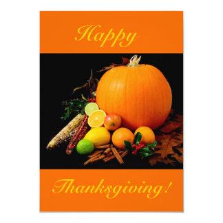 幸せ|感謝祭|V|カボチャ|フルーツ 12.7 X 17.8 インビテーションカード