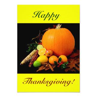 幸せ|感謝祭|VI|カボチャ|フルーツ 12.7 X 17.8 インビテーションカード
