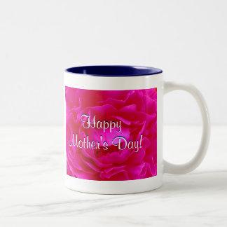 幸せ|母|日|ピンク|上がりました ツートーンマグカップ