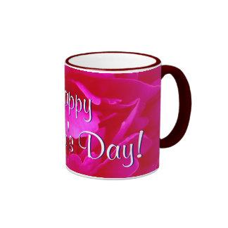 幸せ|母|日|ピンク|上がりました|I リンガーマグカップ