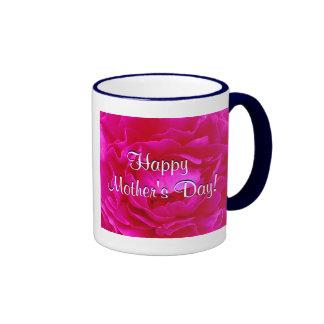 幸せ|母|日|ピンク|上がりました|III リンガーマグカップ