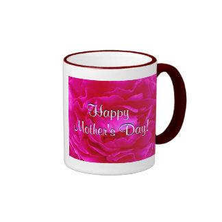 幸せ|母|日|ピンク|上がりました|IV リンガーマグカップ