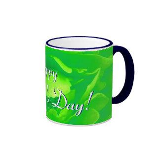 幸せ|母|日|明るい|緑|上がりました|I リンガーマグカップ