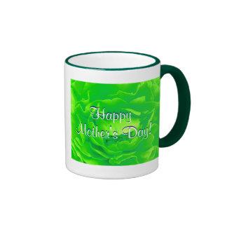 幸せ|母|日|明るい|緑|上がりました|IV リンガーマグカップ
