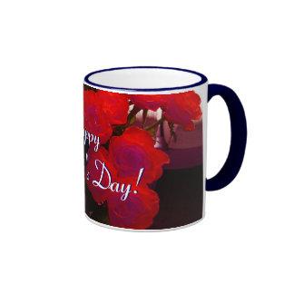 幸せ|母|日|赤い|バラ|II リンガーマグカップ