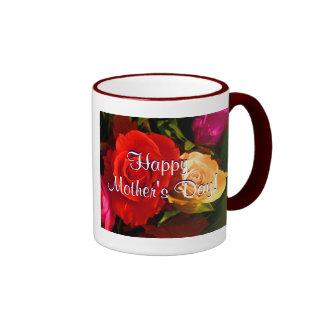 幸せ|母|日|赤い|黄色|バラ|III リンガーマグカップ