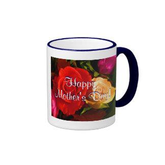 幸せ|母|日|赤い|黄色|バラ|IV リンガーマグカップ