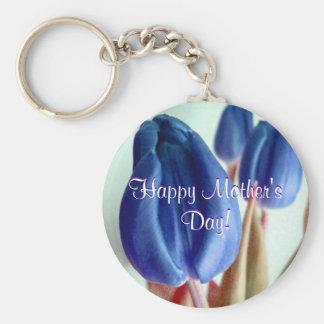 幸せ|母|日|青い|チューリップ キーチェーン