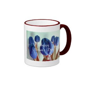 幸せ|母|日|青い|チューリップ|I リンガーマグカップ